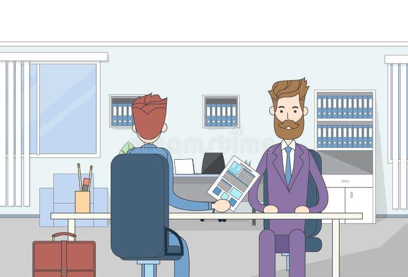 商人坐的办公桌候选人给简历工作面试商人 向量例证