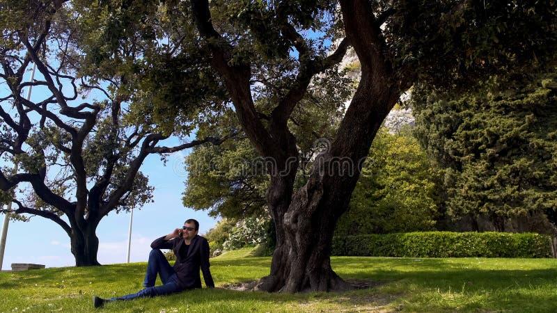 商人坐草和谈话在智能手机,放松在公园 库存图片
