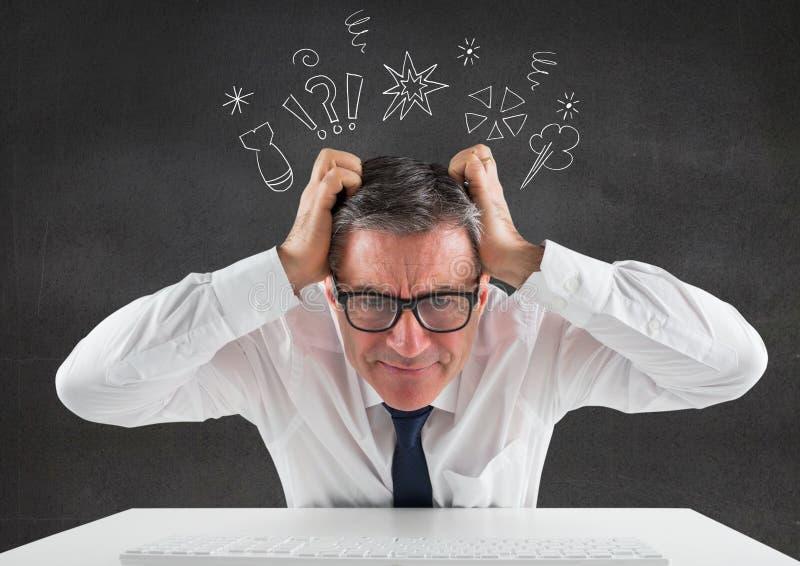 商人坐他的书桌用在他的头的手反对想法的象在背景中 向量例证