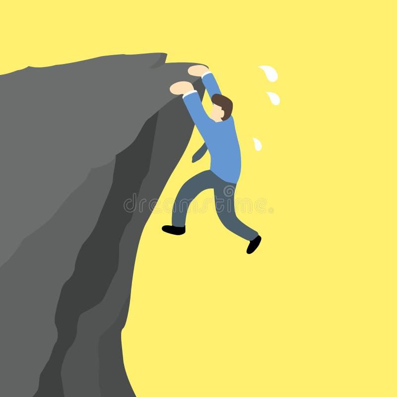 商人垂悬和尝试上升在峭壁边缘 库存例证