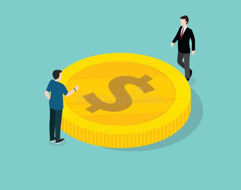 商人处理和谈论关于财务金币美元金钱 向量例证
