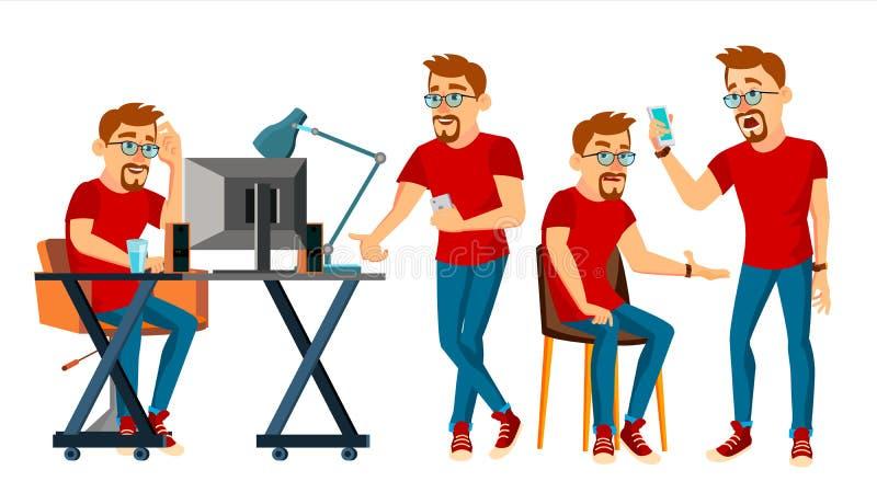商人字符传染媒介 工作的男孩,人 环境过程开始办公室,演播室 公程序员 库存例证