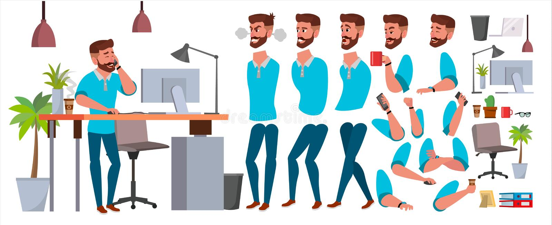 商人字符传染媒介 工作的男性 便衣 开始,办公室,创造性的演播室 动画集合 博若莱红葡萄酒 向量例证