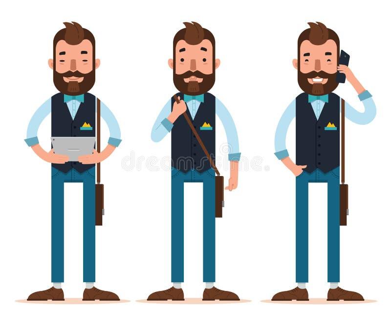 商人字符 人站立与数字式片剂,与皮包的人立场,在电话的人电话 库存例证