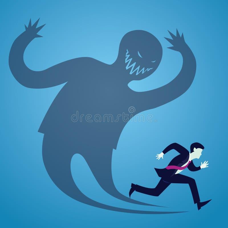 商人害怕逃亡的传染媒介例证从他的阴影的 库存例证