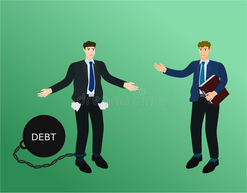 商人对付款债务的没有金钱对债权人 库存例证