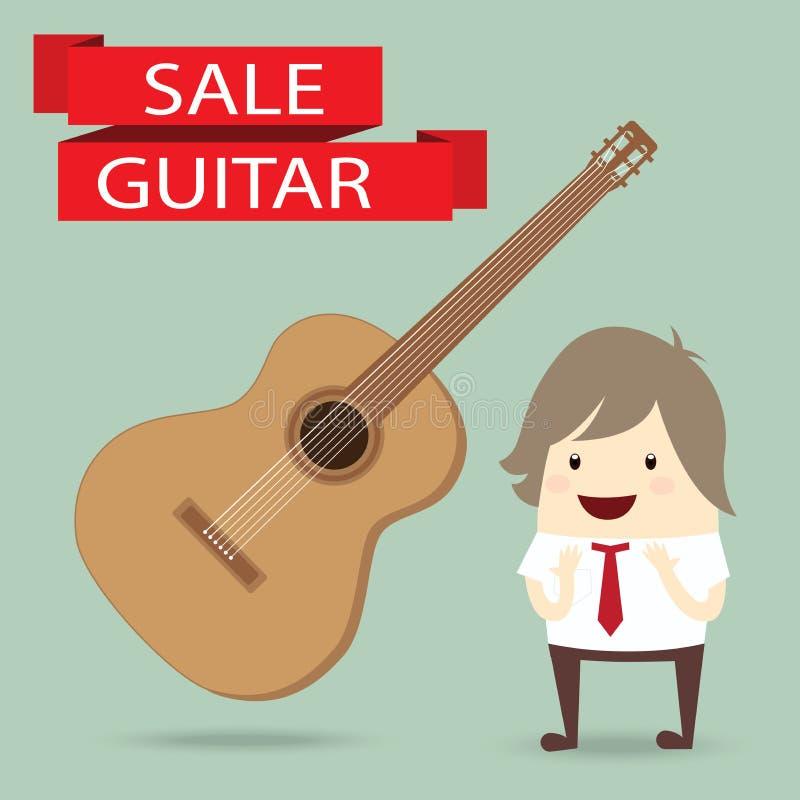 商人对在销售中的吉他满意, 皇族释放例证