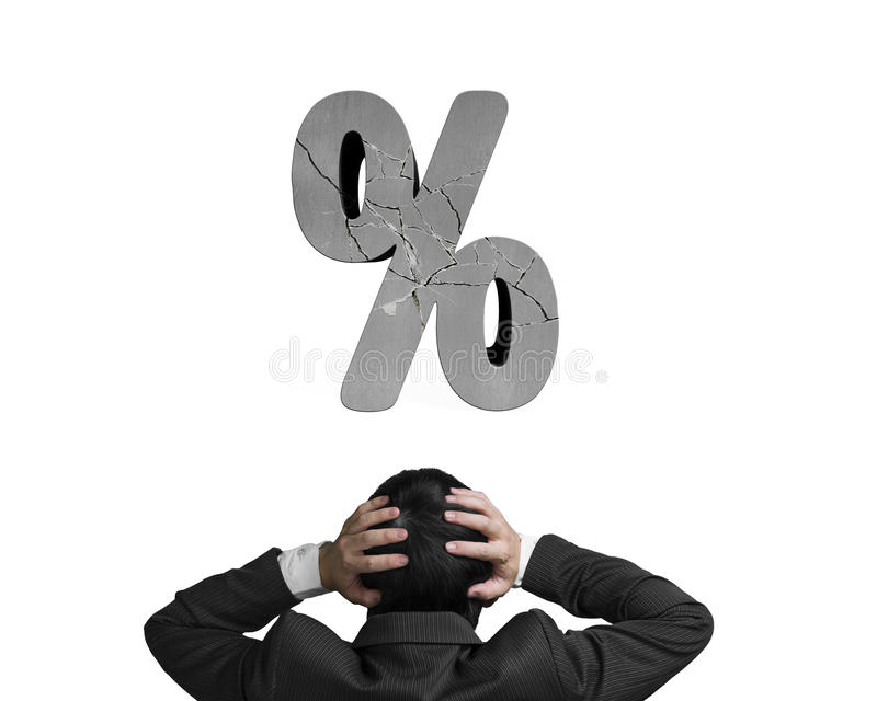 商人对负顶头与破裂的百分率符号隔绝了o 库存图片