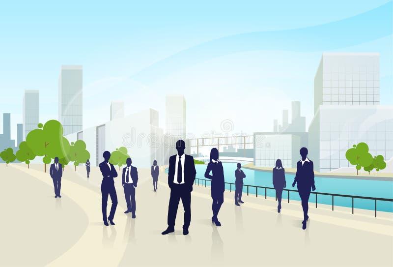 商人小组城市风景办公室 向量例证