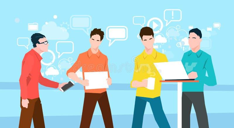 商人小组运作的配合Coworking办公室 向量例证
