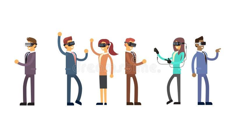 商人小组队穿戴虚拟现实数字式玻璃耳机 库存例证