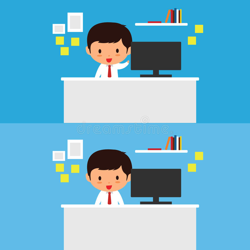 商人工作在书桌传染媒介例证 向量例证