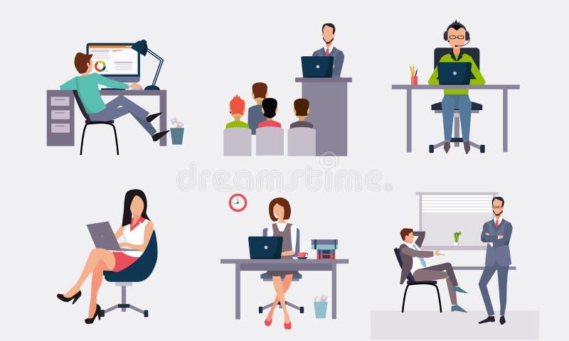 商人工作在办公室的,工作在计算机的办公室工作者,参与在会议传染媒介 向量例证