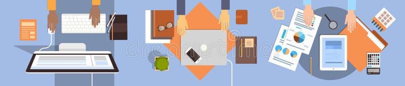 商人工作场所运转膝上型计算机和片剂计算机油罐顶部角钢视图办公室配合的书桌手 向量例证