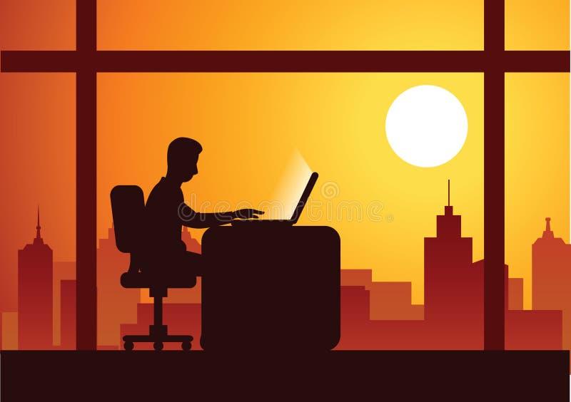 商人工作超时艰苦与完成他的膝上型计算机工作 向量例证