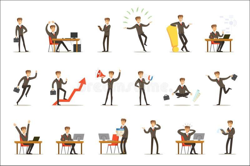 商人工作过程套与年轻企业家漫画人物的与生意相关的场面 向量例证