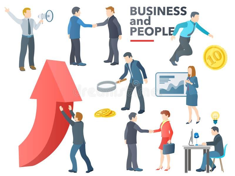 商人工作 商业运作 交谈,交易, PR,新的想法,介绍,查寻投资者, increa 向量例证