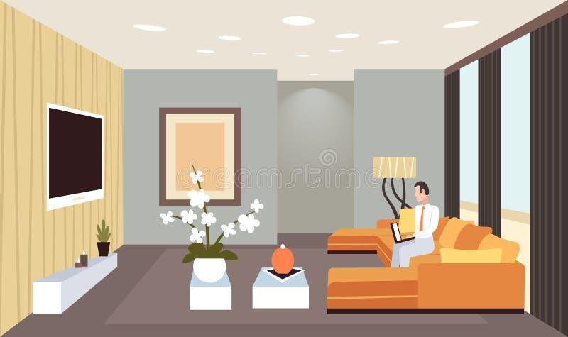 商人平展坐长沙发使用膝上型计算机当代客厅内部家庭现代公寓设计 向量例证