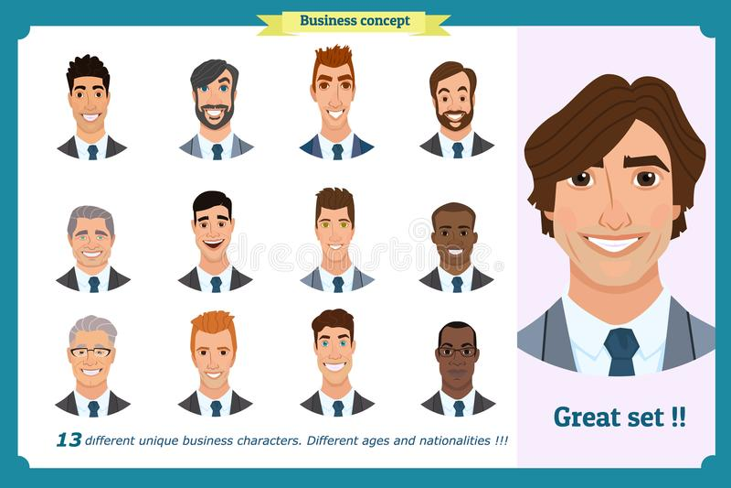 商人平的具体化设置了与微笑的面孔 队象汇集 库存例证