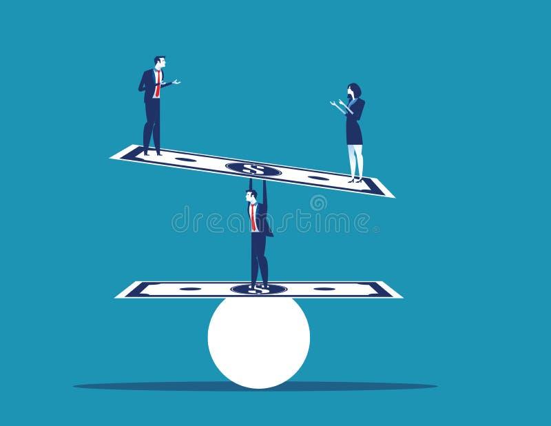 商人平衡的和站立的金钱 r 向量例证