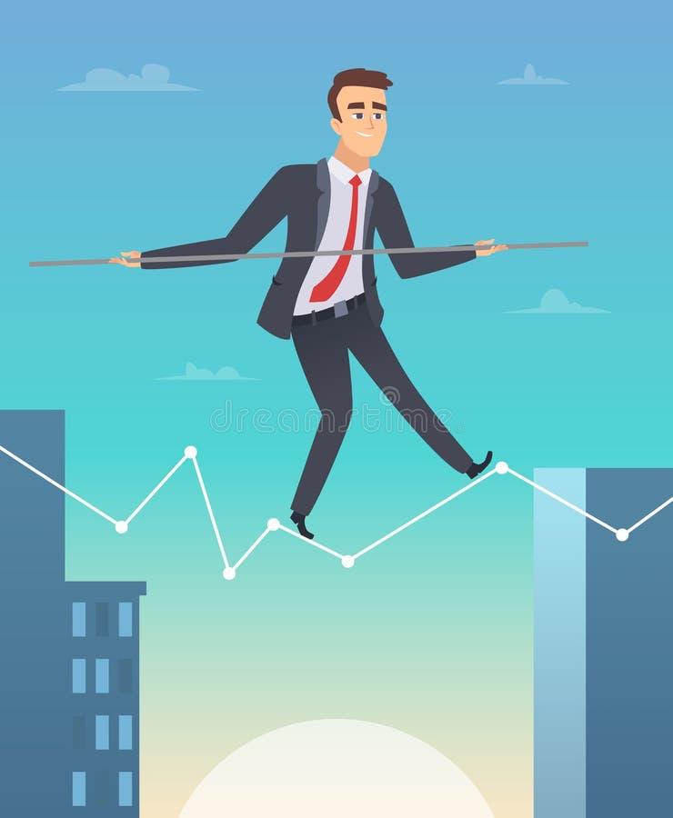 商人平衡 去成功个人挑战传染媒介动画片的愉快的工作者经理的概念图片 库存例证