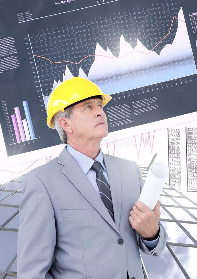 商人建筑建筑师和高楼与经济财务绘制背景图表 库存照片