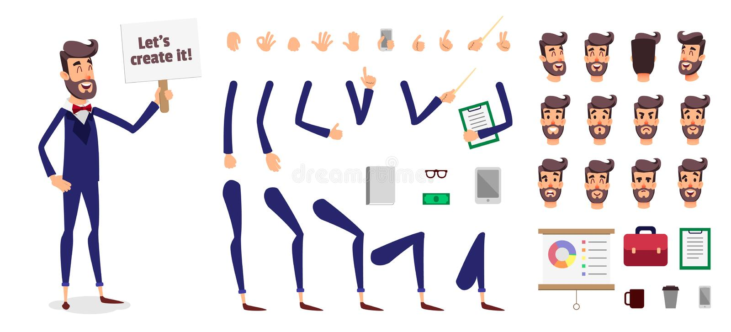商人建设者或男性动画片传染媒介人字符创作集合 分开设计的,比赛身体模板或 向量例证