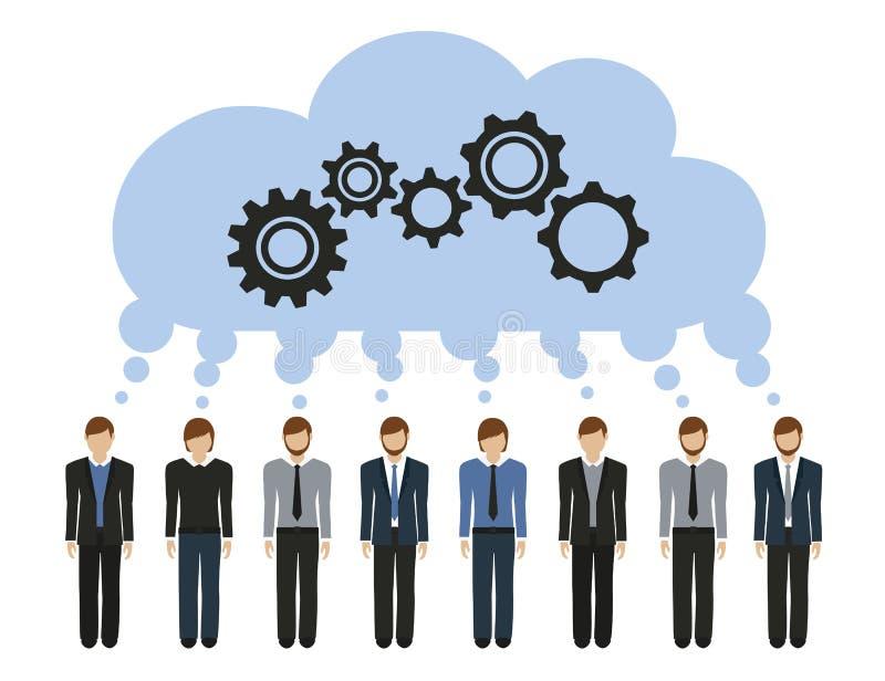 商人开发与齿轮的一个共同的想法 库存例证