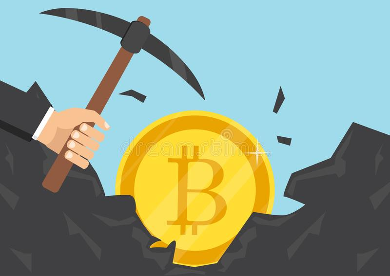 商人开采的bitcoins 也corel凹道例证向量 Cryptocurrency概念 向量例证
