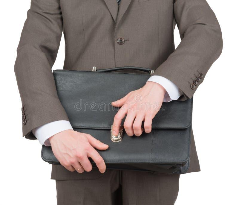 商人开头手提箱,正面图 库存照片