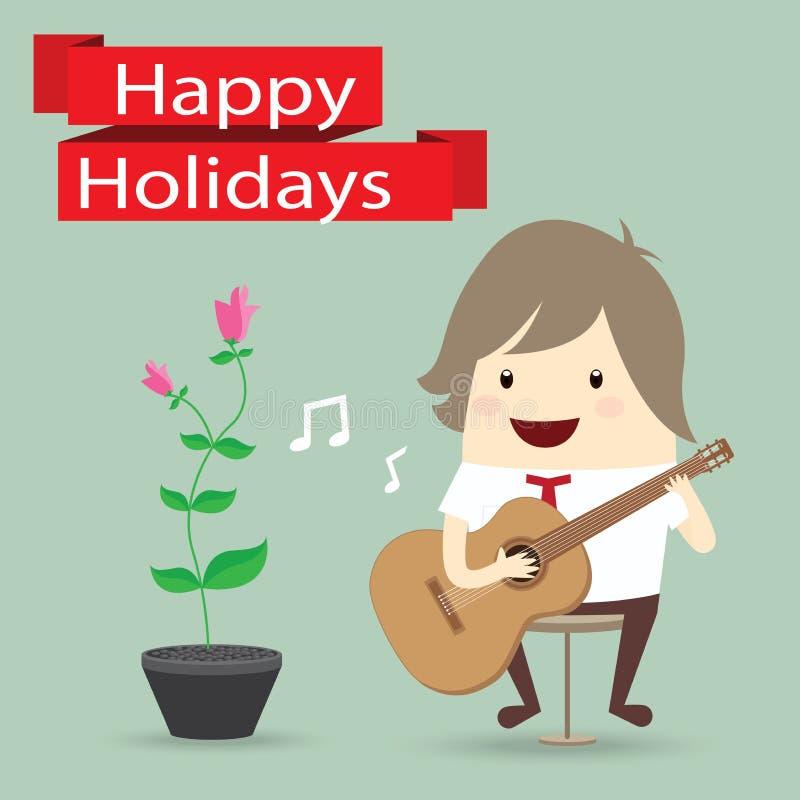 商人弹吉他,花,节日快乐 向量例证