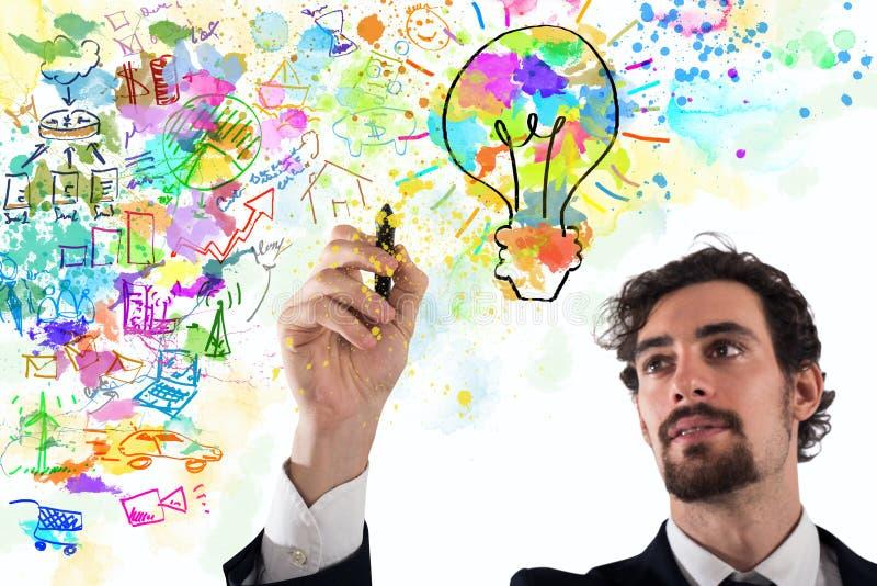 商人得出一个创造性的企业项目 免版税库存照片