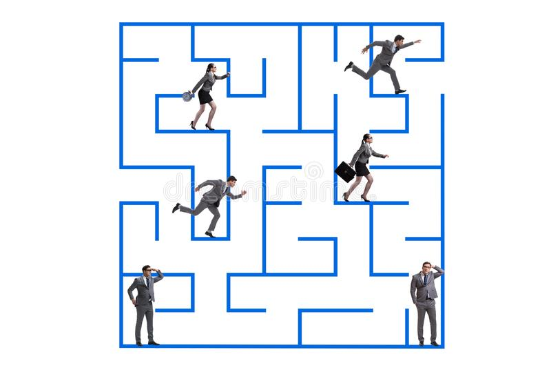 商人得到在迷宫不确定性概念丢失了 库存图片