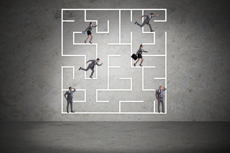 商人得到在迷宫不确定性概念丢失了 免版税图库摄影
