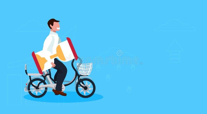 商人循环的自行车藏品沙子时钟时间管理最后期限概念人骑马自行车公卡通人物 库存例证