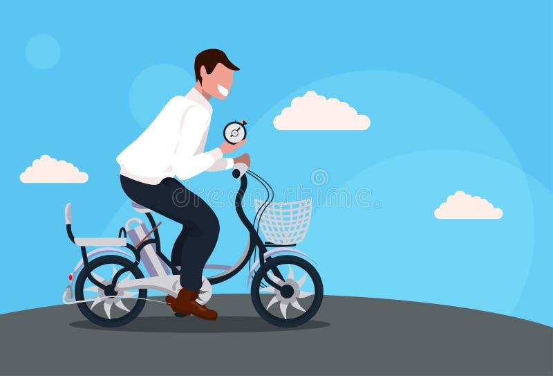 商人循环的自行车藏品闹钟时间管理最后期限概念人骑马自行车公卡通人物 皇族释放例证