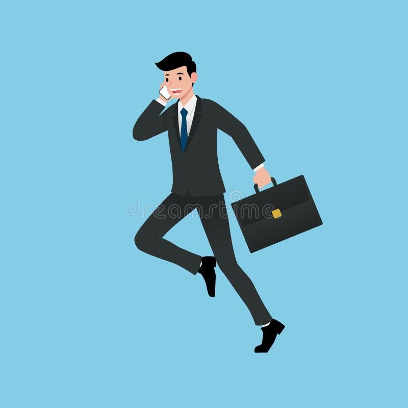 商人微笑和跑,当谈论工作,提出收入,解释产品,谈论项目和卖时 向量例证