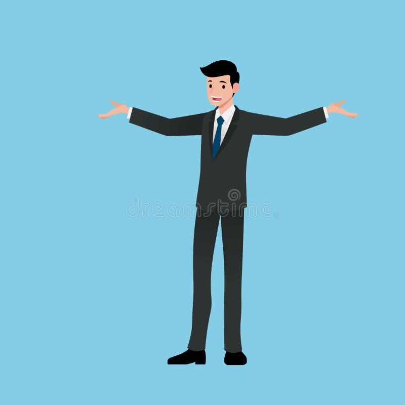 商人微笑并且站立谈论工作,提出收入,解释产品,谈论项目和卖或者歌剧 向量例证