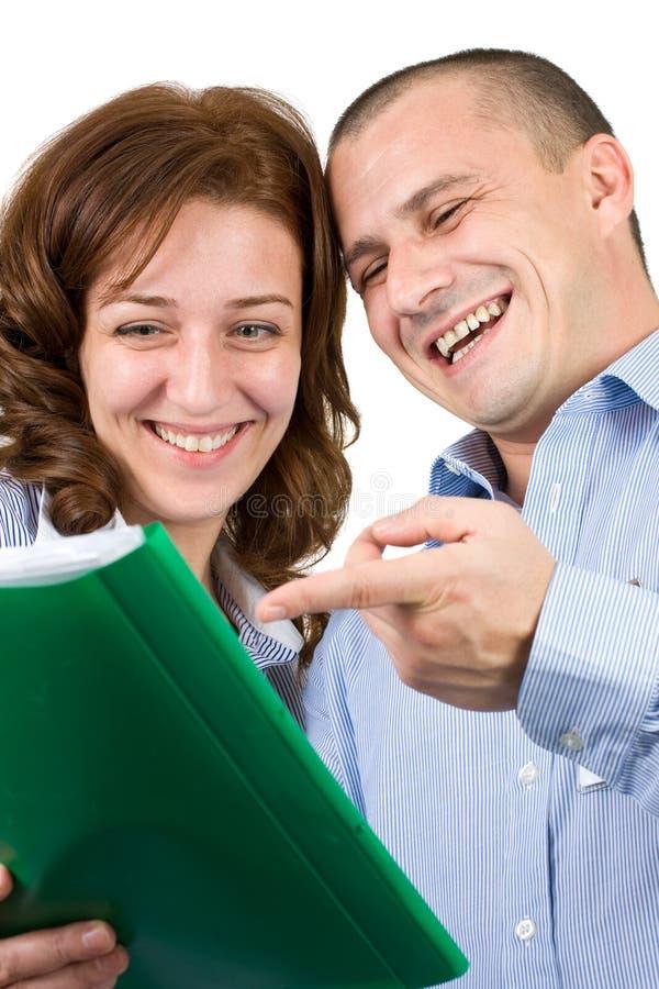 商人微笑的工作 免版税图库摄影