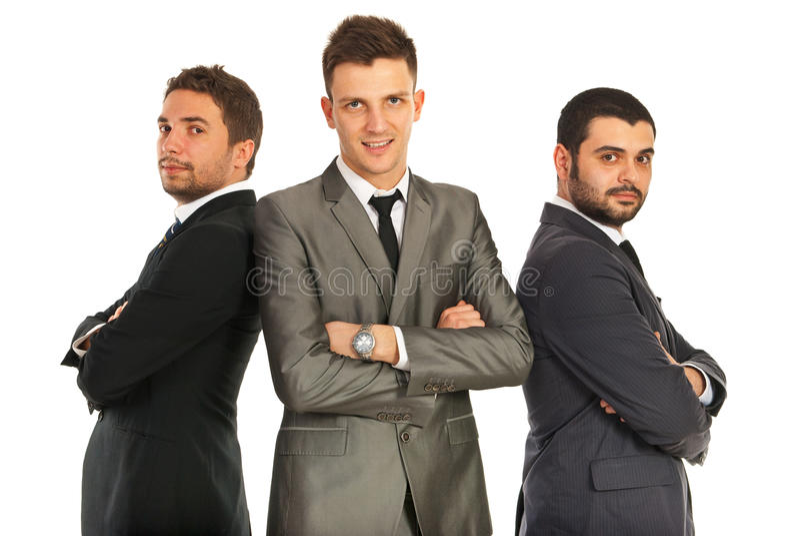 商人快乐的小组  免版税库存照片