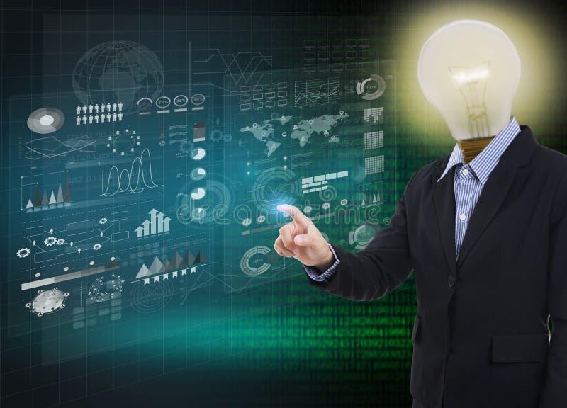 商人想法电灯泡感人的财务分析图表 免版税库存图片