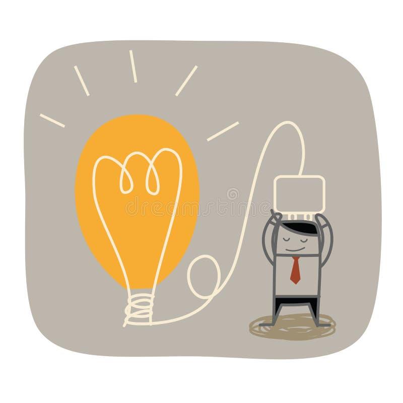 商人想法电灯泡 向量例证