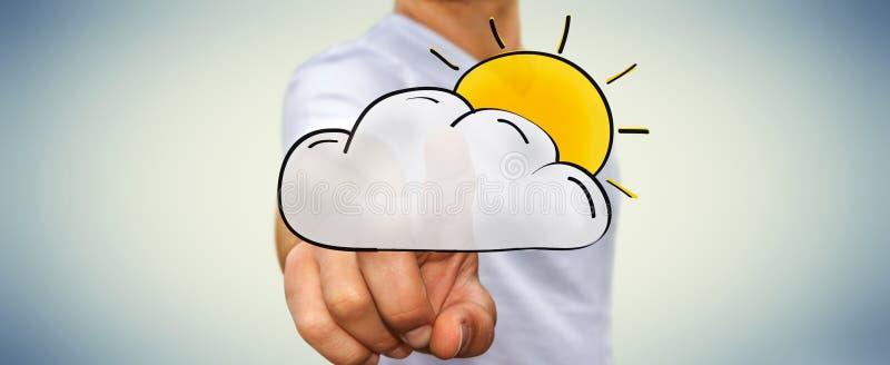 商人感人的手拉的云彩和太阳象图片