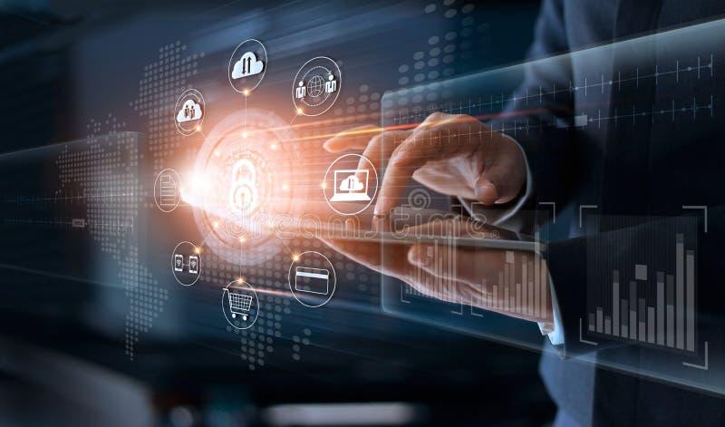 商人感人的技术全球性网络安全infor 免版税图库摄影
