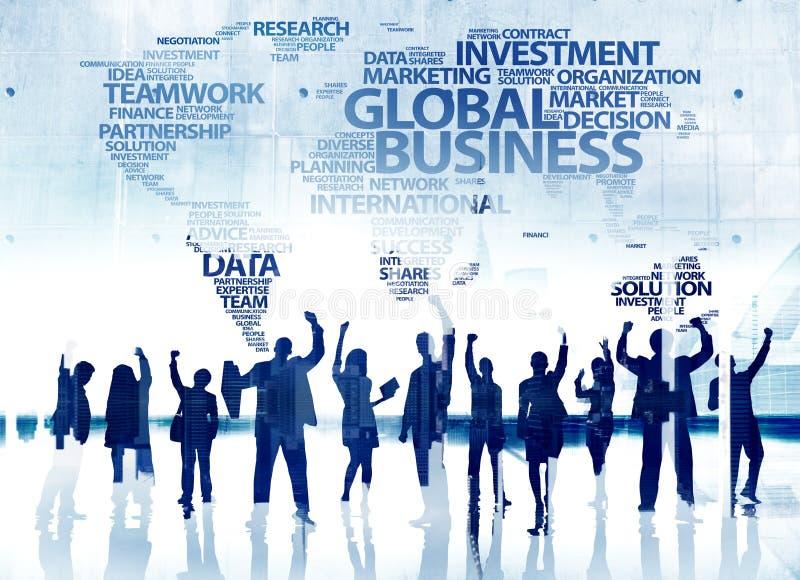商人成功成就庆祝全球性幸福 向量例证