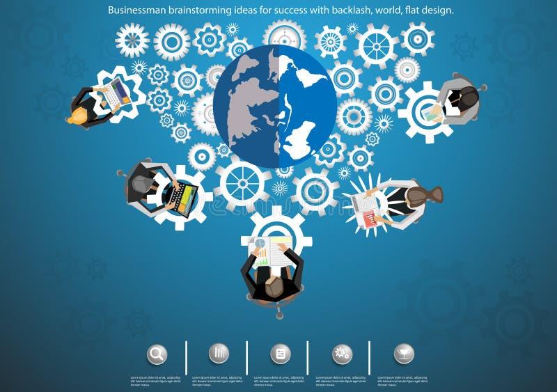 商人成功的激发灵感想法与后退,世界,平的设计 库存例证