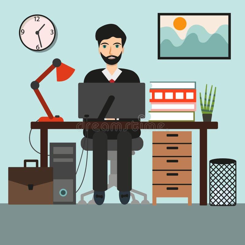 商人或一名干事在运转的办公桌 向量例证