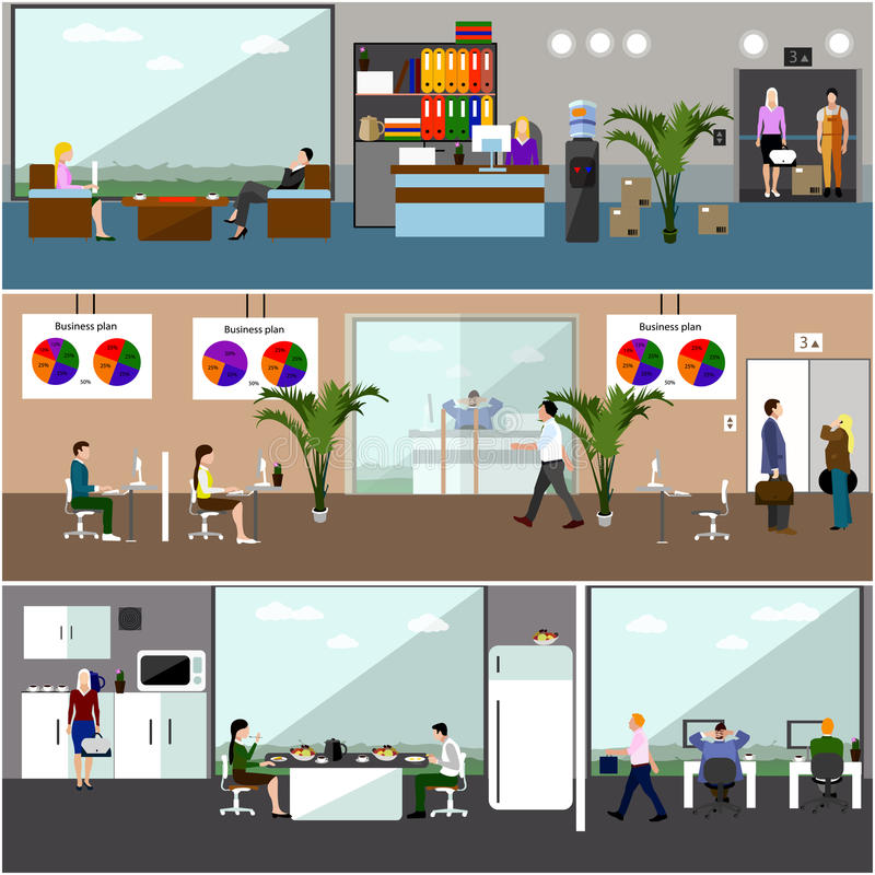 商人或办公室工作者平的设计  企业介绍和会议 办公室内部 皇族释放例证