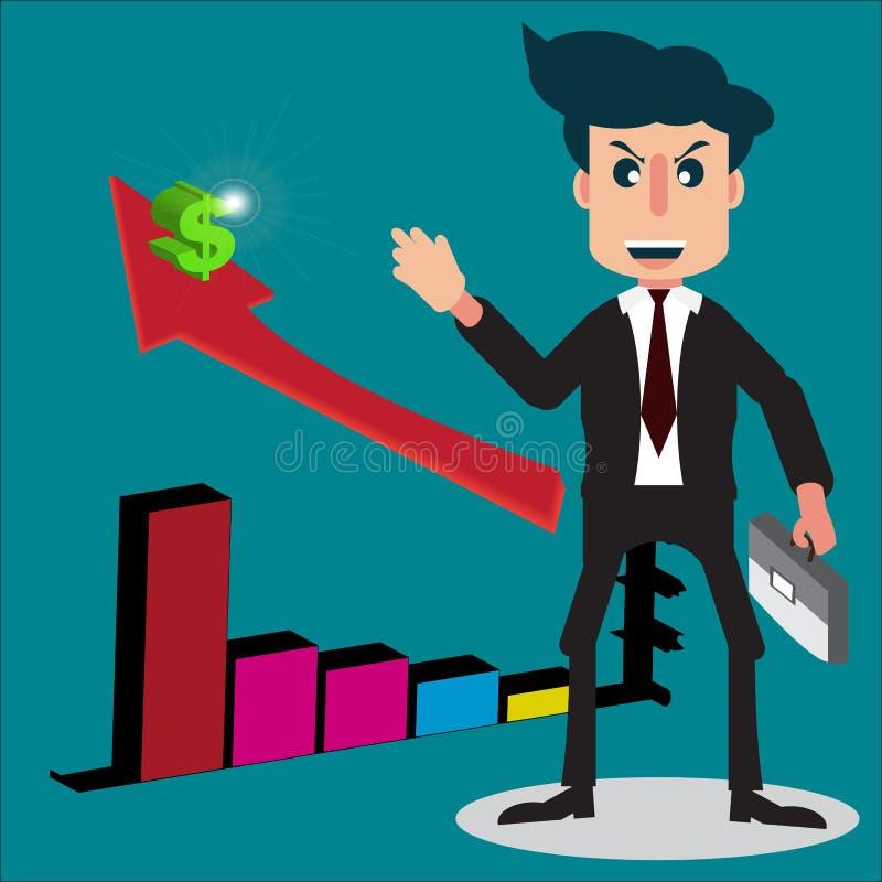 商人或推销员漫画人物样式微笑着和h 免版税库存照片