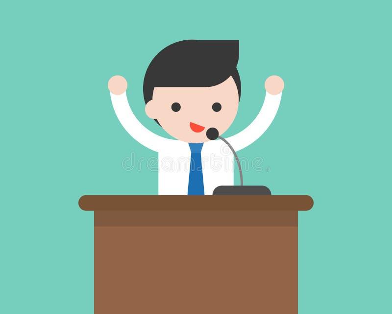 商人或政客发表演讲关于指挥台与话筒, Bu 皇族释放例证